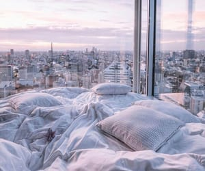 bed, city, and bedroom image
