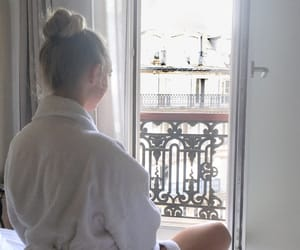 balcony, bed, and girl image