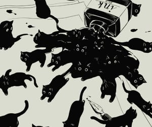 cat, ink, and illustration image