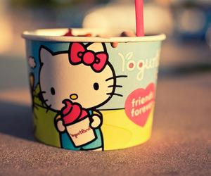 hello kitty, yogurt, and kawaii image