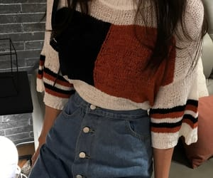 fashion, girl, and jean skirt image