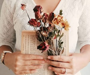 books, flowers, and journaling image