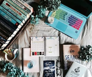 blue, books, and flowers image