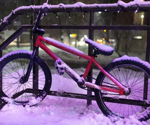bicycle, purple, and night image