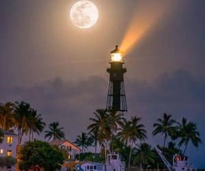 landscape, lighthouse, and moon image