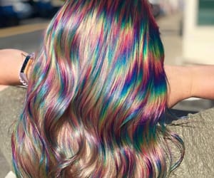 hair, style, and rainbow image