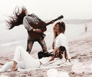 beach, guitar, and music image