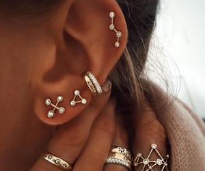 bling bling, silver, and ear piercing image