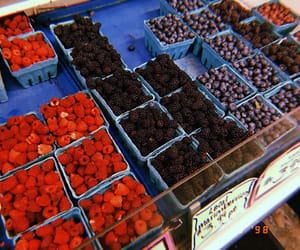 blueberries, food, and raspberry image