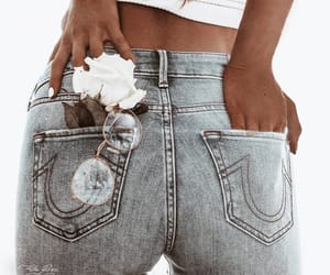 fashion, white and blue, and jeans image