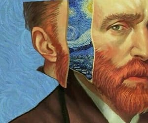 art, starry night, and vincent van gogh image