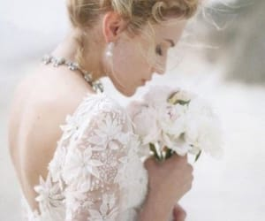 blonde, bride, and dress image