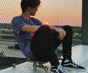 boy, sunset, and vans image