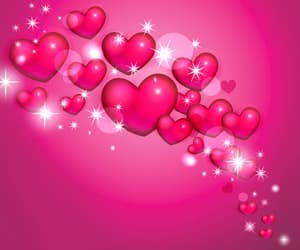 hearts, pink, and stars image