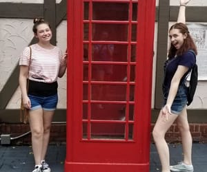 phone booth, sisters, and busch gardens image