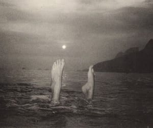 black and white, sea, and feet image