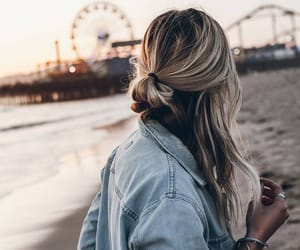 hair, beach, and hairstyle image
