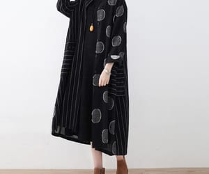 black dress, maxi dress, and linen blouse image