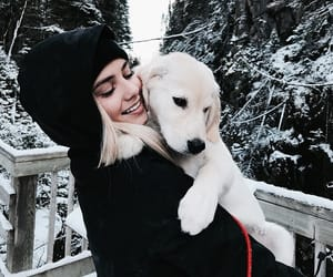 girl, dog, and winter image