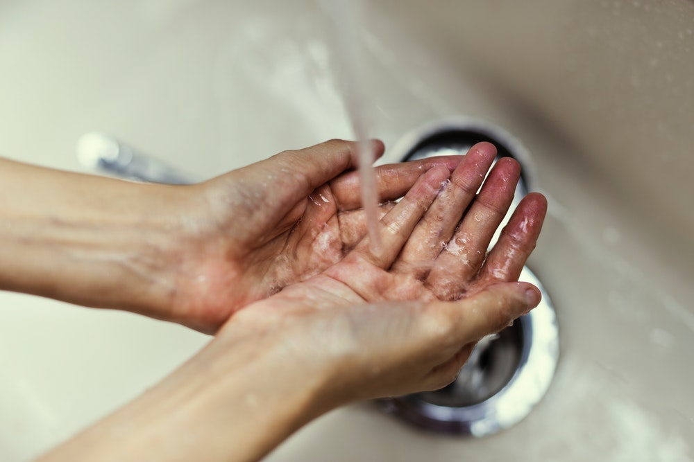 hands, wet, and washing image
