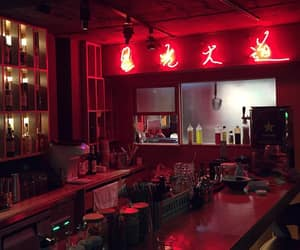 kitchen, punane, and lights image
