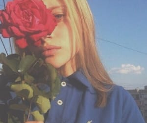 girl, rose, and red image