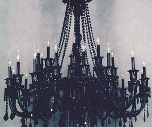 black, chandelier, and dark image