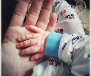 baby, hand, and mommy image