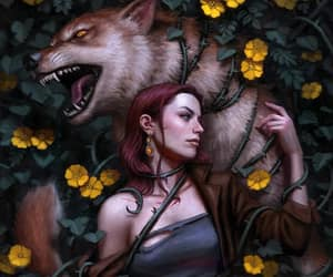 dos santos art and redhead wolf flowers image