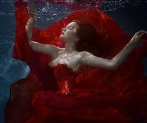 red dress, redhead, and underwater image