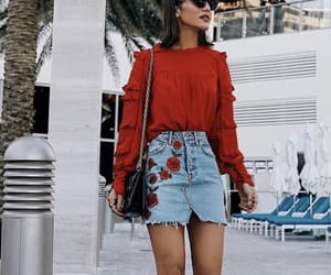 outfit, red, and beauty image