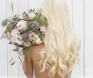blond, hair, and bouquet image