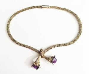 etsy, sterling silver, and amethyst necklace image