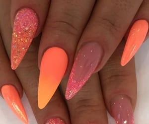 nails, peach, and summer nails image