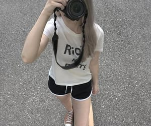 beautiful girl, camera, and longboard image