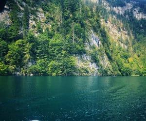 boat, landscape, and rock image