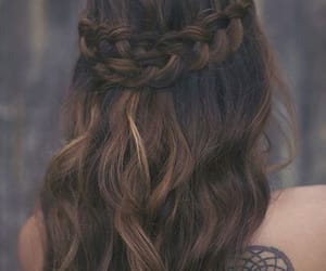 braid, brunette, and creative image