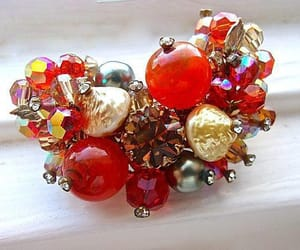 art glass, rhinestones, and red rhinestones image