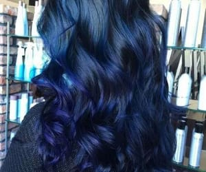 color, blue color, and hairstyle image