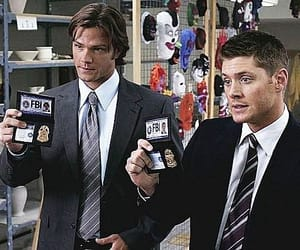 """Supernatural, season 4, episode 7, """"It's the Great Pumpkin, Sam Winchester,"""" aired 30 October 2008. L to R: Sam Winchester is played by Jared Padalecki and Dean Winchester is played by Jensen Ackles."""