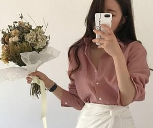 flowers, mirror, and girl image