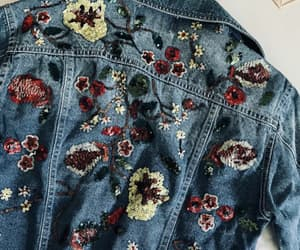 embroidery, jacket, and jean image