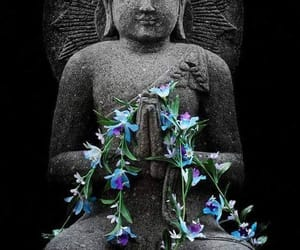 blues, Buddha, and flowers image