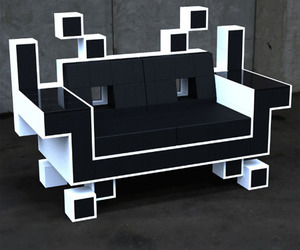sofa, chair, and space invaders image