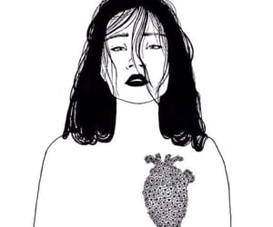 girl, heart, and art image