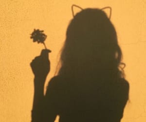 shadow, yellow, and girl image