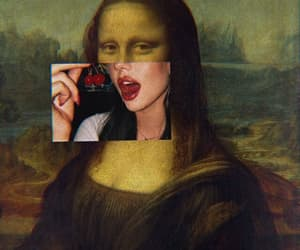 art, mona lisa, and cherry image