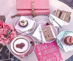 cake, coffee, and pink image