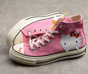 converse, hello kitty, and pink image