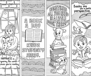 book illustration, cute cartoons, and coloring bookmarks image